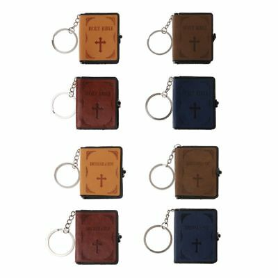 Holy Bible Book Leather Key Ring Miniature Paper Spiritual Christian Keychain
