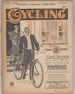 Cycling Mag 1922 Rudge Whitworth Coventry Bicycles Front Good Condition