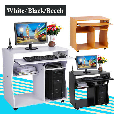 Wood Computer Desk Home Office Writing PC Table  Workstation Storage Units