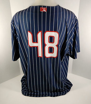 7e2a5c07c9f 2018 Syracuse Chiefs  48 Game Used Blue Pinstripe Jersey