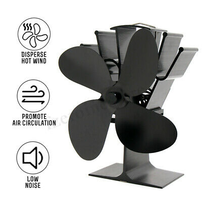 4-Blade Stove Fan Eco Friendly Heat Powered Log Wood Burner Top Mini Fireplace