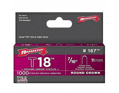 Round Crown Staples ArrowT18 Round Crown Staples 10mm & 11mm   Pack of 1000