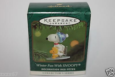 2001 Hallmark Winter Fun With Snoopy Ornament Miniature Keepsake  Skating #4