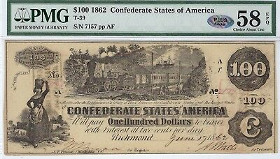 T-39 PF-5 $100 Confederate Paper Money- 1862 - PMG Choice Abt Unc 58 EPQ - PLUS!