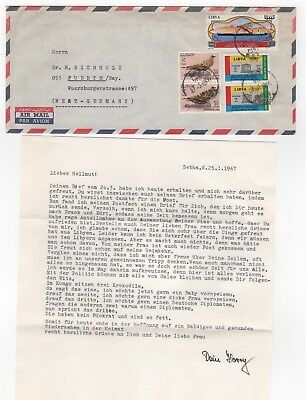 1967 LIBYA Air Mail Cover SEBHA FEZZAN to FUERTH GERMANY + Letter Content