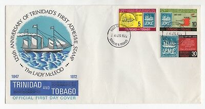 1972 TRINIDAD & TOBAGO First Day Cover 1st ADHESIVE STAMP 125th ANNIVERSARY