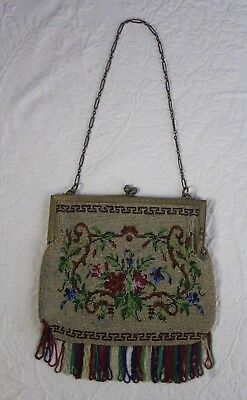 Antique Late 19thC Sterling Silver Frame Micro Beaded Rose Floral Fringed Purse