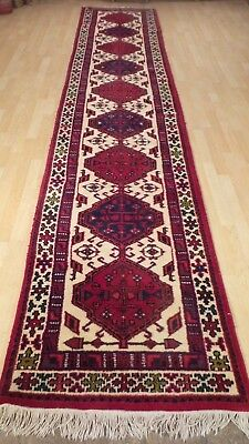 "Superb Long HALL RUNNER CARPET RUG HAND MADE Traditional WOOL 13ft 1"" x 2ft 8"""