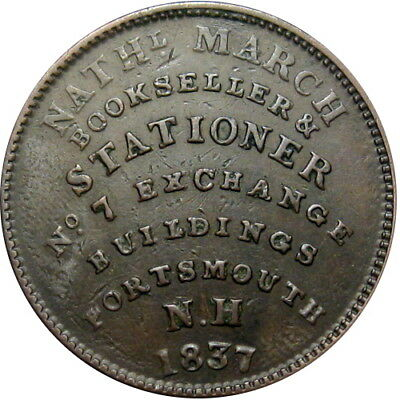1837 Portsmouth New Hampshire Hard Times Token March Bookseller HT-194 Low 124