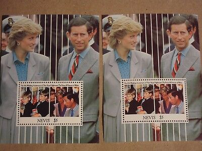 2 X Briefmarken Block 5 $ Nevis Charles & Diana mit den Prinzen William u. Harry