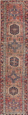 Antique Geometric Tribal Muted Color Gharajeh Heriz Persian Oriental Rug 2x10ft