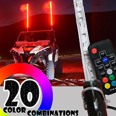 4ft 20 Color 200 Combination LED Lighted Whip  UTV ATV RZR YXZ Free Shipping!