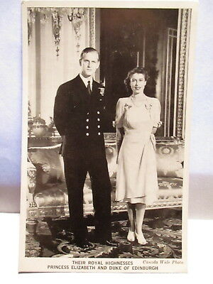 1940s POSTCARD ROYAL HIGHNESSES PRINCESS ELIZABETH & DUKE OF EDINBURGH