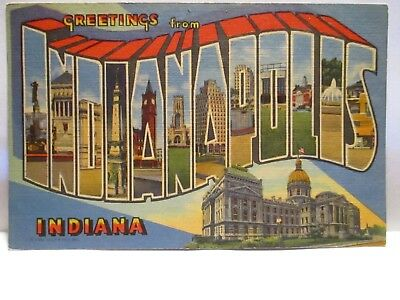 "1940 Large Letter Postcard "" Greetings From Indianapolis "" In W/ Sites Unused"
