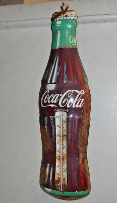 L2935- Vintage 1950s Coca Cola Thermometer  Soda Fountain Advertising Sign AS IS