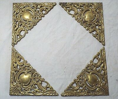 "4 Old Antique BRASS ORNATE Leather BOOK CORNER Set VICTORIAN PICTURE FRAME 5""x5"""