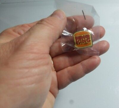 Burger King Advertising Enamel Burger  Red Lettering Pin New in Package NOS
