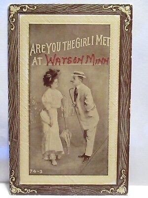 """1910 Large Letter Risque Postcard """" Are You The Girl In Met At  Watson Minn """""""