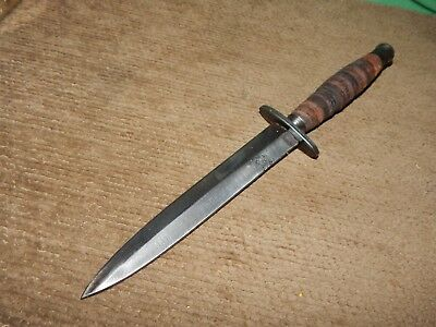 "FURY 33080 Vintage Boot Knife - Dagger, 6"" Carbon Blade, Stacked Leather Handle"