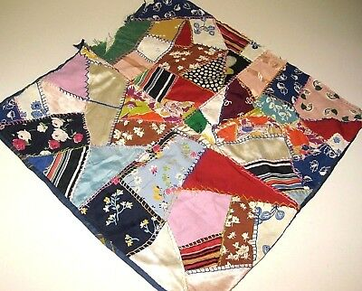 Early 1900's Vintage Silk Patchwork Crazy Quilt Throw Pillow Cover ~Needs Work ~