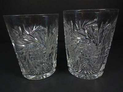 """Antique Abp American Brilliant Period Hand Cut Crystal Glass Pair Of 4"""" Tumblers"""