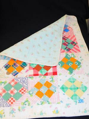 DARLING Antique Vintage Handmade 9 Patch FLANNEL DOLL Crib Table QUILT  Novelty