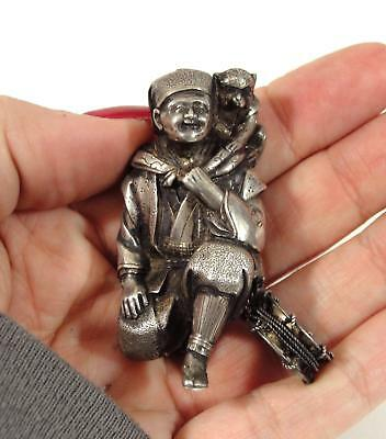 Antique Small 19thC Signed, Hand Tooled Silver Japanese Man & Working Monkey NR