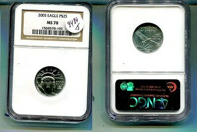 2005 $25 Platinum American Eagle 1/4 Ounce Coin Ngc Ms70 8489J