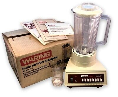 Vintage 1970s Waring Futura 14 Speed Blender Almond New in Box Unused w Extras