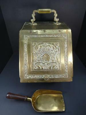 Antique Ornate Brass English H.f.& Co Phoenix Mark C1880S Coal Scuttle & Shovel