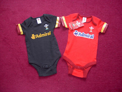 2 x Wales Rugby Union Shirt baby vest/babygro/9-12 months/BNWT
