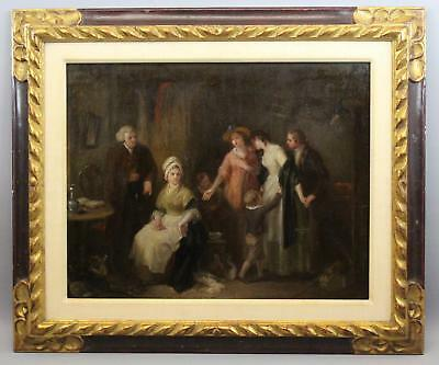 19thC Antique Signed English Genre Family Interior Scene Oil Painting, NR