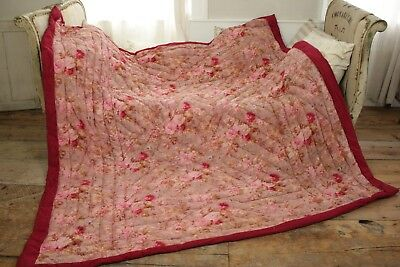 Boutis Antique French Pique piquee  Quilt floral stripe STUNNING 82X81