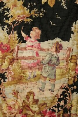 Boutis Antique French Pique piquee  Quilt black childhood rococo design