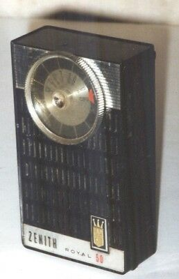 Vintage Zenith Royal 50 Pocket Portable Transistor AM Radio Works 1961