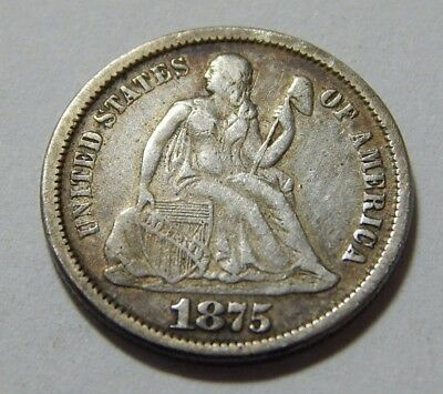 1875 US Silver Seated Liberty Dime Coin