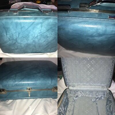 """vintage suitcase hard side shell American Tourister turquoise blue luggage 20"""""""
