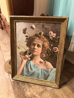 Antique Original Art Nouveau Gorgeous Lady Holding Roses Framed