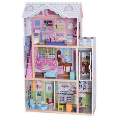 "46"" Pink Dollhouse W/ Furniture Gliding Elevator Rooms 3 Levels Young Girls Toy"