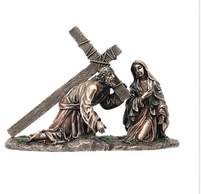Jesus Carrying Cross Figure Easter Gift Christian Sorrowful Mother Madonna