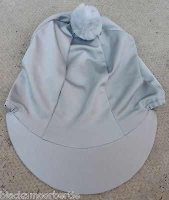 Lycra Riding Hat Silk Skull cap Cover SILVER GREY PLAIN * With OR w/o Pompom