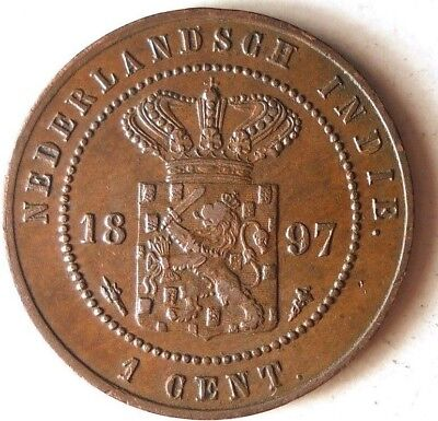 1897 NETHERLANDS EAST INDIES CENT - AU - RARE LOW MINTAGE Coin - Lot #D4