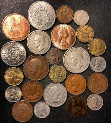 Vintage Great Britain Coin Lot - 1862-1967 -  24 Excellent Coins - Lot #D4