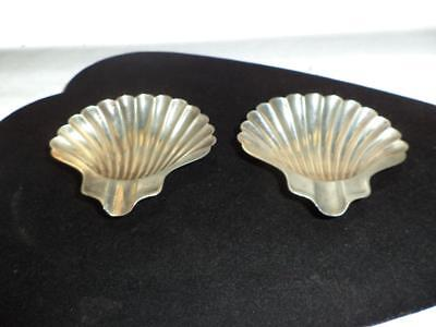 Estate Vintage SET OF 2 NAPIER STERLING SILVER FOOTED SHELL ASHTRAYS 45.4g Total