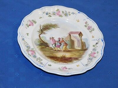 Lille 1767 French Faience Hand Painted Antique Dinner Plate A Signed E. Duc