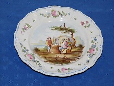 Lille 1767 French Faience Hand Painted Antique Dinner Plate B Signed E. Duc