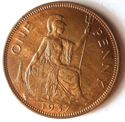 1937 GREAT BRITAIN 1/2 PENNY - AU/UNC - High Quality Vintage Coin - Lot #D4