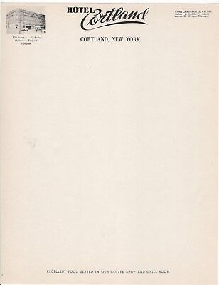 Hotel Cortland NY Lot of 50 Vintage Illustrated Letterhead Coffee Shop Grill