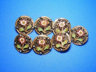 ANTIQUE LOT OF 7 DELIGHTFUL ENAMEL BUTTONS W MATCHING FLOWERS with CUT STEELS
