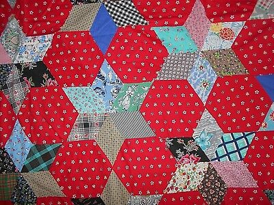 Antique/Vintage Feed Sack Fabric Quilt Top Red Setting Cotton Hand Sewn VGCondio